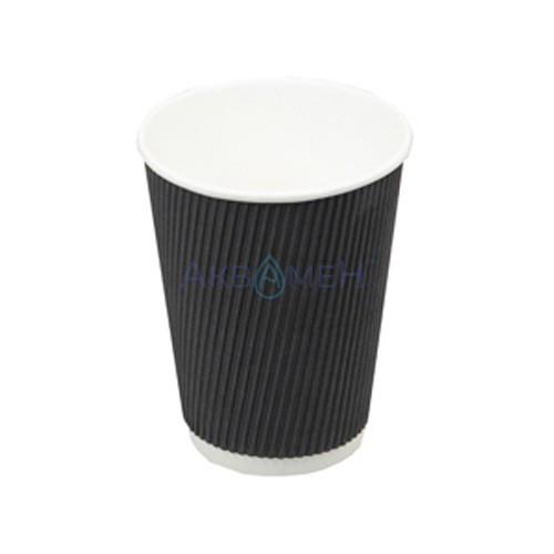 Стакан гофрований чорний 250мл 20шт/уп